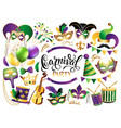 mardi gras french traditional symbols collection vector image