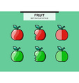Set of red and green apples in a flat style vector image