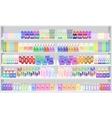 Store supermarket shelves shelfs with household vector image