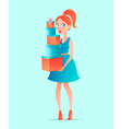Young beautiful shopping woman in cartoon style vector image