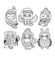 outline set with Christmas owls vector image