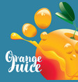 banner with orange fruit and fresh juice splash vector image