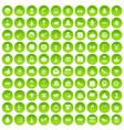 100 holidays icons set green circle vector image