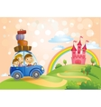 Family going to the Fairy Tale castle vector image