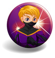 Superhero in purple costume on badge vector image vector image
