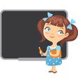school girl blackboard vector image