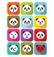 Panda bear flat emotions icons set vector image