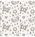 Seamless pattern with butterflies and suns and vector image
