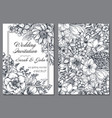 wedding invitation with hand drawn spring flowers vector image