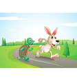 A bunny and a turtle running along the road vector image