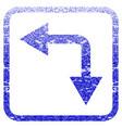 bifurcation arrow left down framed textured icon vector image