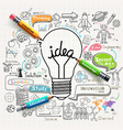 Lightbulb ideas concept doodles icons set vector image