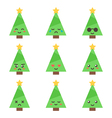 Flat design cartoon cute christmas tree characters vector image