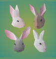 polygonal rabbit or hare heads collection vector image