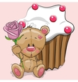 Teddy with flower vector image