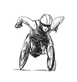 Hand sketch athletes in wheelchair vector image