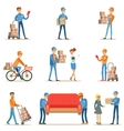 Different Delivery Service Workers And Clients vector image