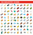 100 industry icons set isometric 3d style vector image vector image