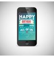 Birthday greeting card on screen of mobile phone vector image