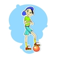 a boy on a blue background vector image