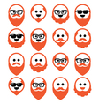 Bald man with ginger beard and mustache icons set vector image vector image