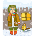 girl with sled vector image vector image