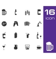 black beer and beverage icons set on white vector image