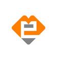 letter e m logo design template vector image