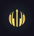 round abstract arrow gold logo vector image
