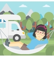 Woman lying in hammock in front of motor home vector image