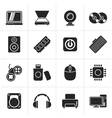 Black Computer Parts and Devices icons vector image