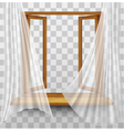 Wooden window frame with curtains on a transparent vector image vector image