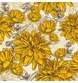 Floral seamless pattern with blooming flowers vector image