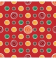 Red flower yellow green circles on red seamless vector image