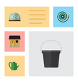 flat icon garden set of hosepipe pail bailer and vector image