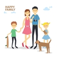 Happy cartoon family mother father son daughter vector image