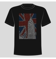Image of the Big Ben placed on black t-shirts vector image
