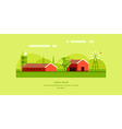 Rural Farm Landscape Red Farm Barn Flat Style vector image