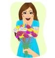 woman receiving bouquet of wild flowers vector image