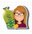 woman money cash coins vector image