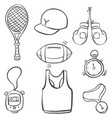 sport equipment various doodle style vector image