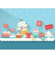 Sweets and dessert on the table vector image
