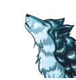 Howling Wolf Head2 vector image