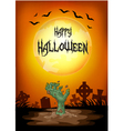 halloween zombie reaching from the ground vector image