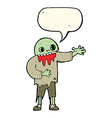 cartoon spooky zombie with speech bubble vector image