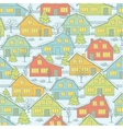 Seamless Christnas pattern with houses and trees vector image