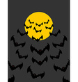 Flying vampires against background of moon Bunch vector image