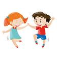 happy boy and girl dancing vector image