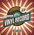 vinyl record shop retro sign design vector image