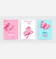 pink breast cancer butterfly ribbon art poster set vector image